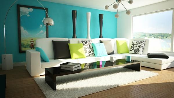 das zuhause gemütlich einrichten türkis wand bodenvasen sofa