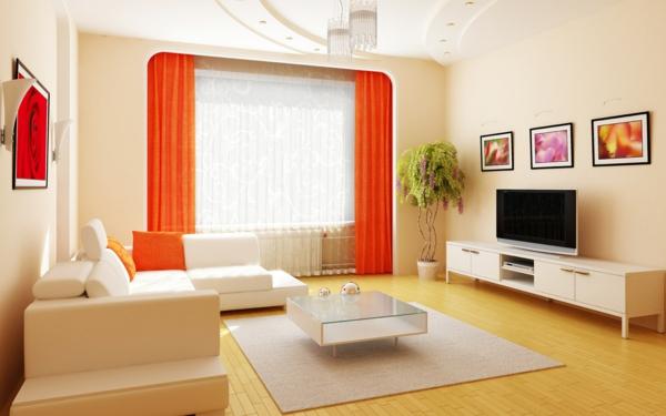 das zuhause gemütlich einrichten weiß möblierung orange gardinen