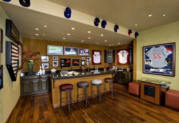 die bar zu hause eklektisches design für sportliebhaber