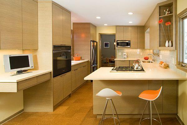 die küche neu gestalten deckenbeleuchtung barstühle holzplatte