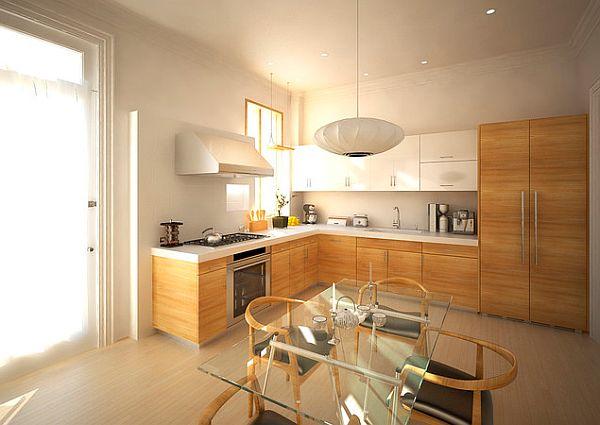 die küche neu gestalten pendelleuchten glastischplatte