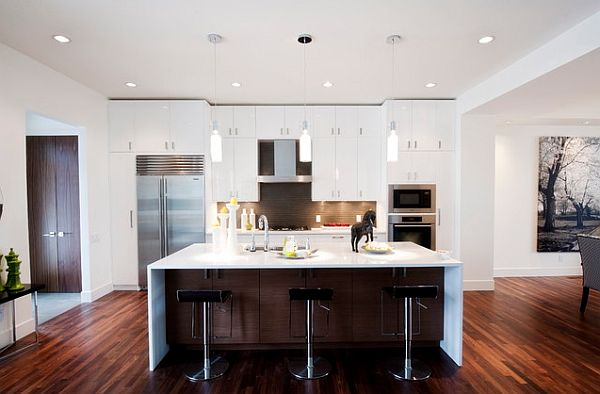 Die Küche Neu Gestalten Weiß Eingebaut Möbel Modern Dunkel Bodenbelag