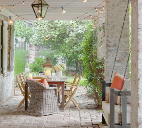 die veranda im sommer gestalten rattan sessel pflanzen