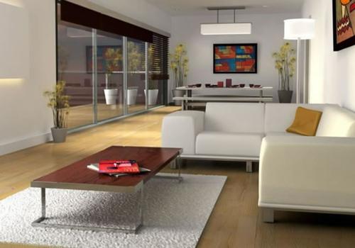 ecksofa weiß wohnzimmer teppich holz tisch pflanzentopf