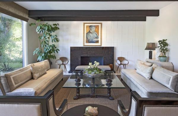 eine robuste zimmerpflanze luxus möbel großes gemälde und kamin