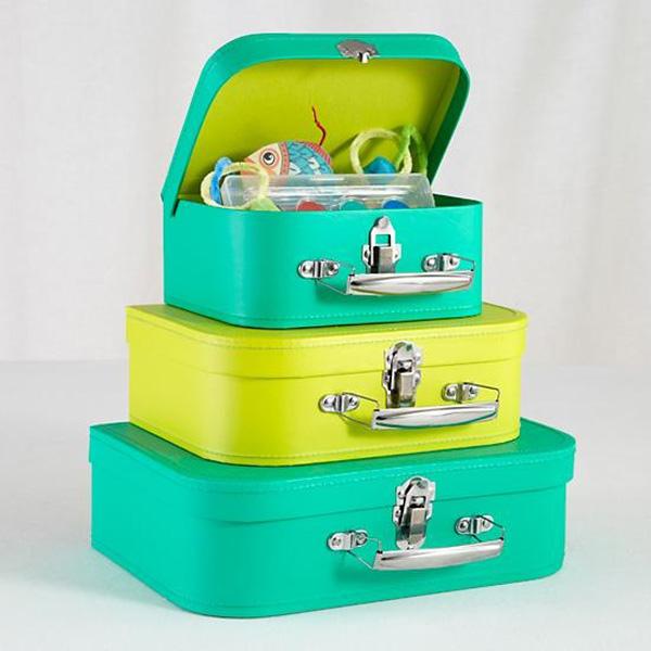 einfache aufbewahrungsideen kleine koffer in neon farben