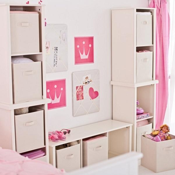 einfache aufbewahrungsideen prinzessinen rosa mit vilen boxen