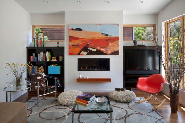 einfache bodenvase idee rot schaukelstuhl design wohnbereich