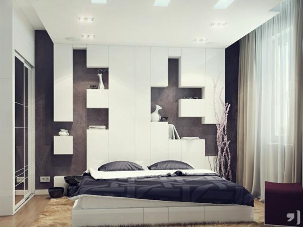 elegantes kopfteil in schwarz und weiß mit exzentrischem design mit regalen