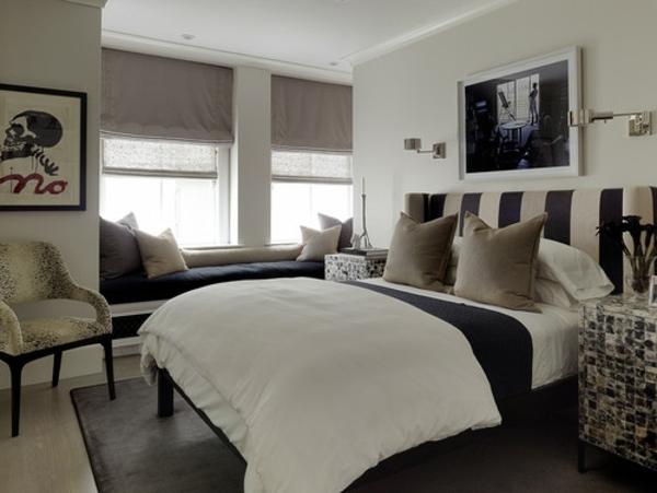 elegantes kopfteil in schwarz und weiß in breiten streifen