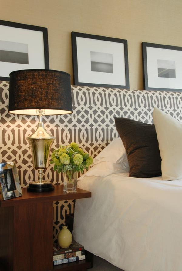 elegantes kopfteil in schwarz und weiß wunderschöne verflochtene muster