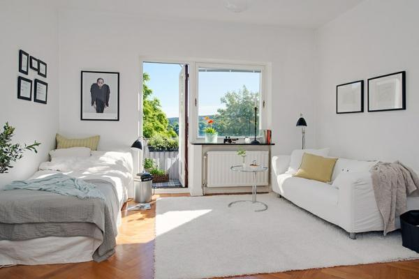 entzückende einzimmerwohnung design idee weiß einrichtung