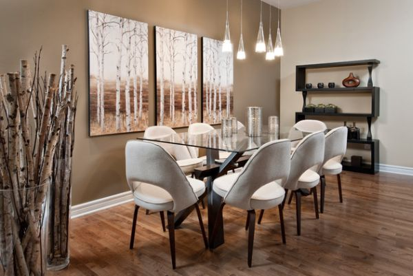 esszimmer elegant glas tischplatte hängelampen holz