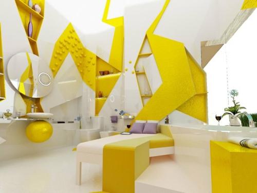 extravagant gelb weiß linien gestaltung badezimmer