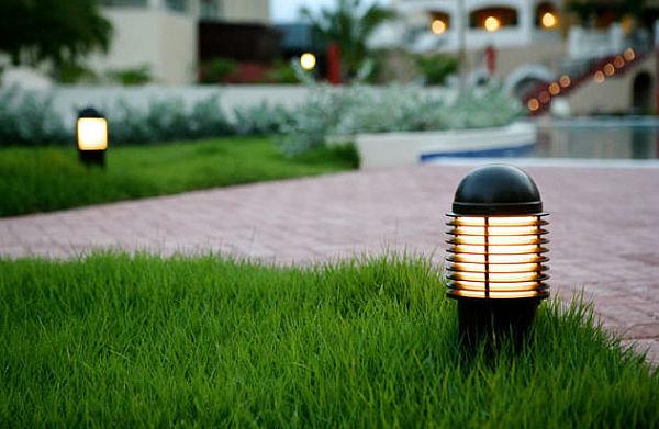 faszinierende beleuchtung im garten kunst gras fußweg