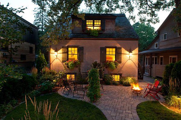 tisch mit feuerstelle sitzplatze garten modern senkgarten, Hause und Garten