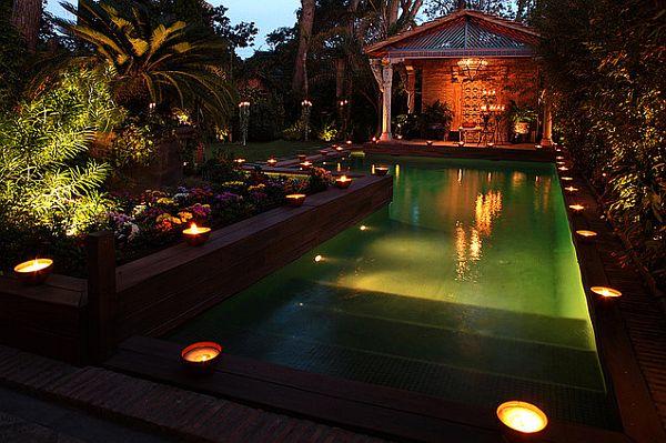 faszinierende beleuchtung im garten pool unterwasser