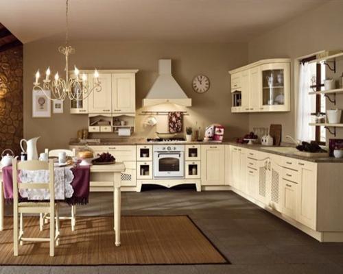 feminine einrichtung küche wandgestaltung kronleuchter teppich möbel