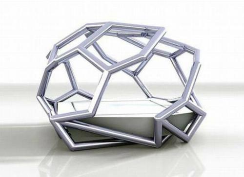 futuristisches himmelbett rauten formen metall matratze