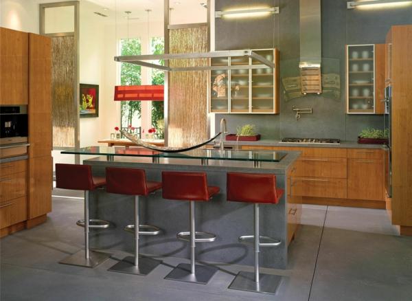 gemütliche küche einrichten rote leder barstühle holz schrank