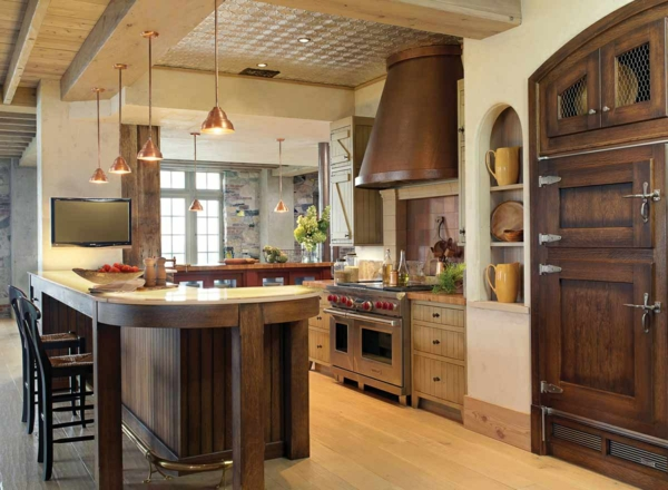 gemütliche küche einrichten rustikales design holz dunkel