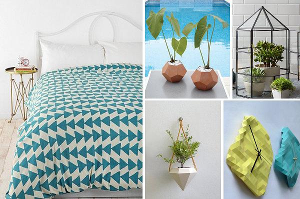 geometrische figuren im interior design bettwäsche schlafzimmer pflanzen