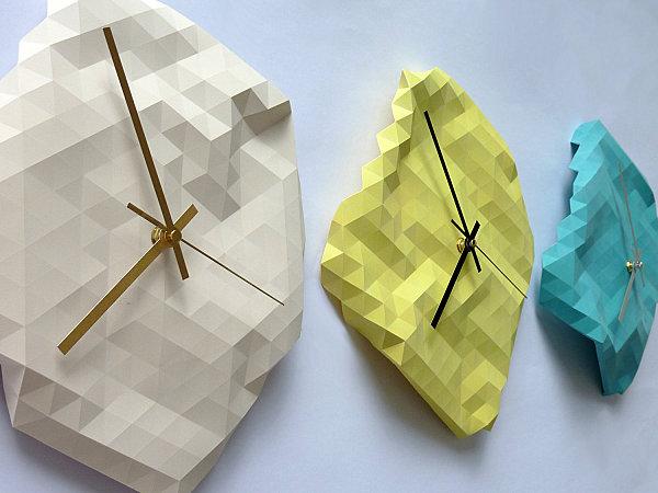 geometrische figuren im interior design bettwäsche wanduhr