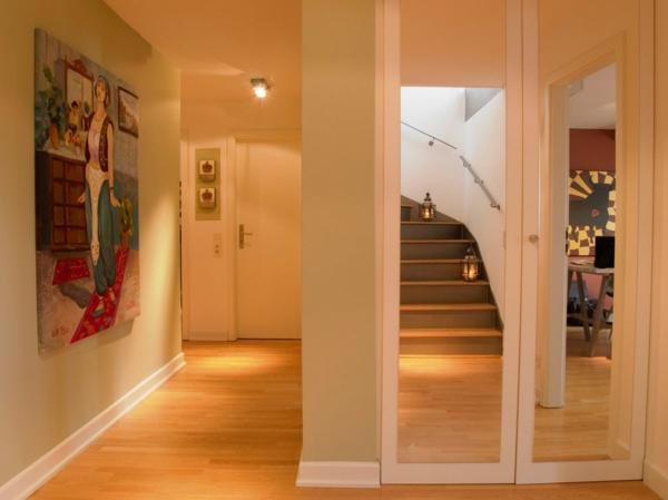 coole einrichtung für penthouse wohnung gespiegelte treppe