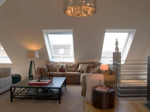 gewagte einrichtung für penthouse wohnung mit dach fenstern