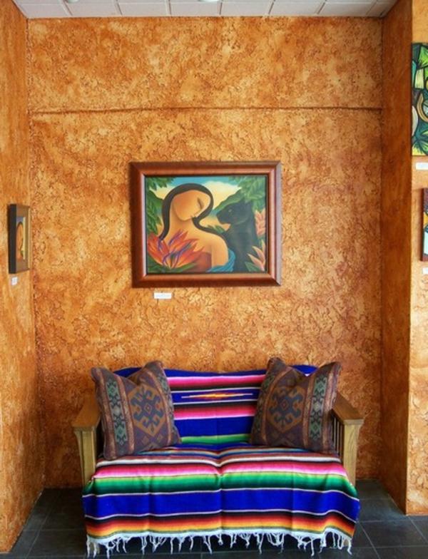gewebte kunstwerke aus mexiko bunt gestreifte tagesdecke