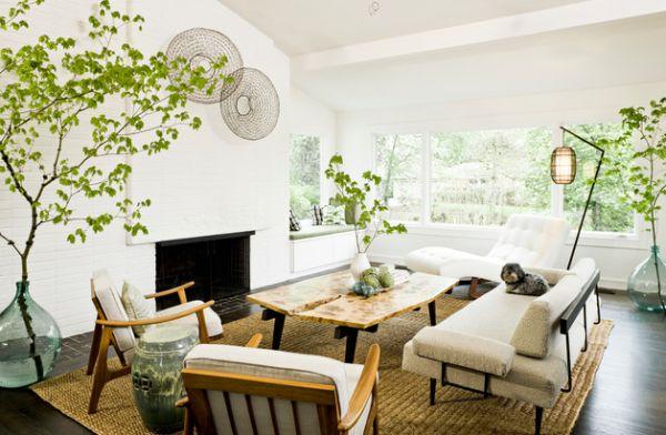 gläserne bodenvasen baum pflanzen haus modern interior design