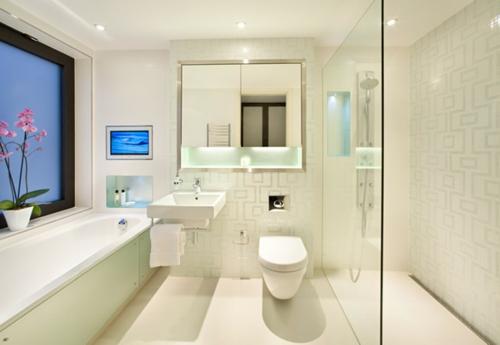 glas aufteiler badezimmer duschkabine spiegelschrank fenster badewanne