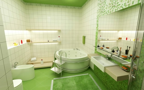 grün badezimmer design badewanne weiß wandfliesen