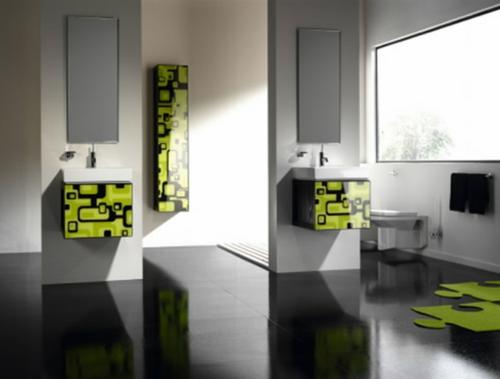 grün oberflächen modern modular glanzvoll badezimmer bilder