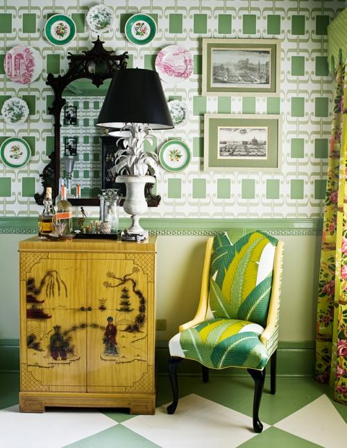 grüne designer stühle blumenmuster idee attraktiv