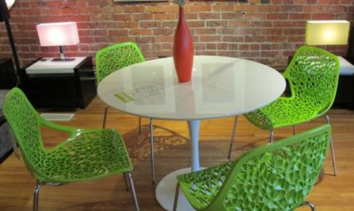 grüne designer stühle esszimmer tisch weiß rund