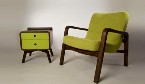 grüne designer stühle holzrahmen nachttisch grün  schubladen