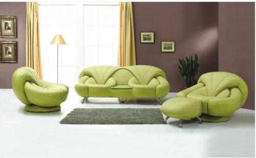 Grüne Designer Stühle Leder Wohnzimmer Einrichtung