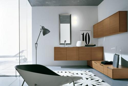 grau badezimmer stehlampe kommode holz waschbecken