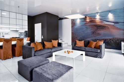 Grau Weiß Fliesen Fußboden Samt Hocker Sofas Kissen Orange