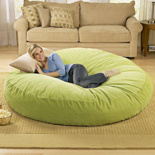 großer runder sitzsack - ergonomisches design von brookstone, Schlafzimmer design