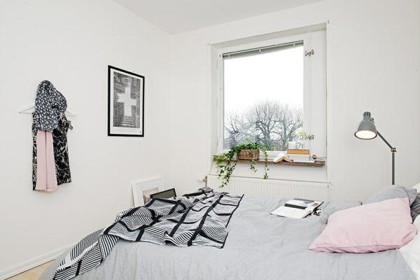 helles gemütlich möbliertes apartment schlafzimmer behaglich