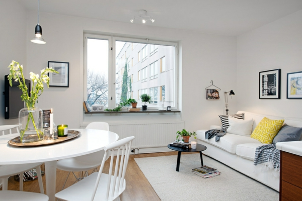 helles gemütlich möbliertes apartment weiß einrichtung esstisch