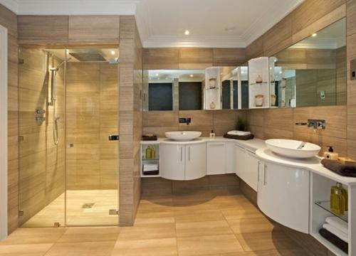 holz oberflächen glas waschbecken spiegel