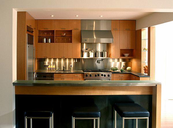 holz edelstahl dekoration küche tiscplatte moderne  ambiente
