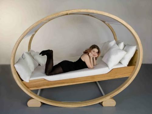 holz oval form himmelbett schaukel design attraktiv