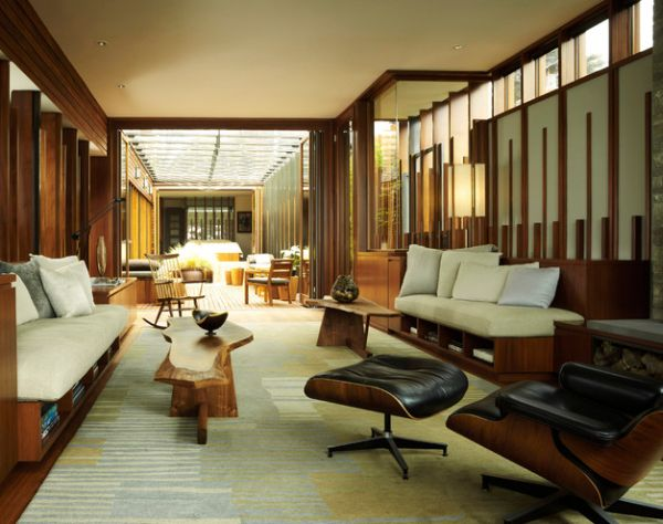Holz Wände Eames Lounge Chair Sitzkissen Wohnzimmer
