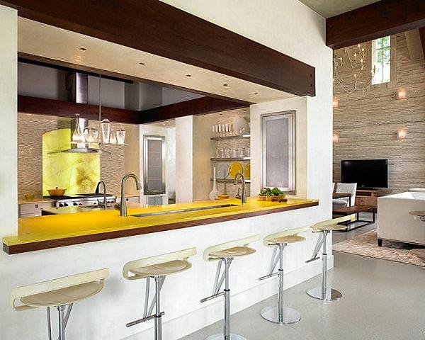 innovative küchenbar designs barhocker gelbe platte