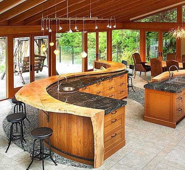 innovative küchenbar designs barhocker schwarz holz dach spüle