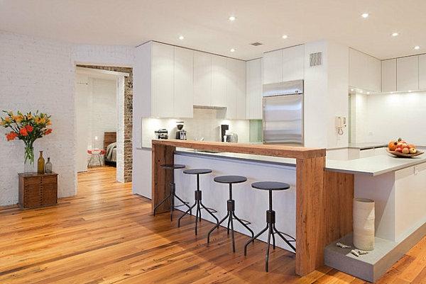 innovative küchenbar designs barhocker weiße eingebaute schränke